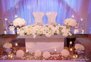 Hydrangea and Rose arrangements L.A. Banquets