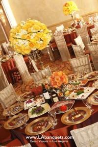 Colorful flower centerpieces L.A. Banquets