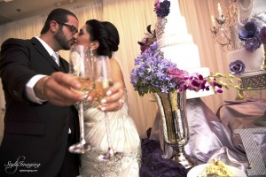 Couple toasting at wedding LABanquets.com